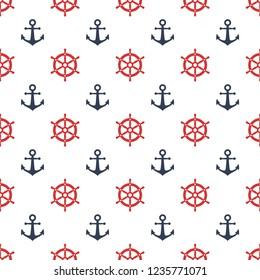 Red ship wheel and blue anchor seamless pattern print. Marine vector seamless pattern design. Nautical print.