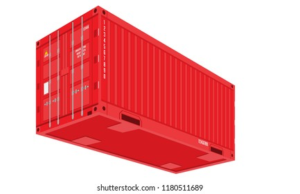 Red Shipping Cargo Container for Logistics and Transportation. Perspective and bottom view. Flat Vector Illustration