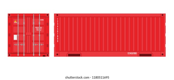 Red Shipping Cargo Container for Logistics and Transportation. Flat color Vector Illustration