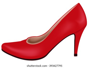 Red shoe vector illustration, isolated.