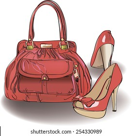 The red shoes with the red bag. Vector illustration.