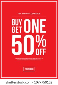 Red Shop Vector Sign For A Buy One Get One 50 percent Off Clearance
