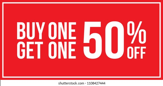 Red Shop Vector Sign For A Buy One Get One 50% Off Clearance Horizontal Landscape