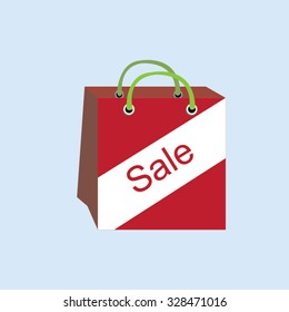 Red shopping bag with word sale-vector
