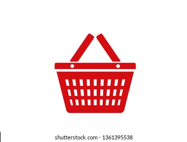 red shopping basket icon isolated vector supermarket, consumption and purchase symbol