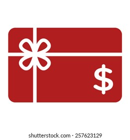 Red shopping gift card / giftcard / voucher flat vector icon for apps and websites