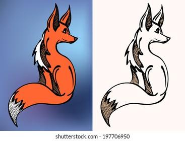 a red side sitting fox - sketch