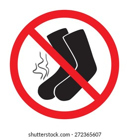 red sign ban smelly socks