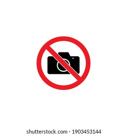 red sign forbidding taking pictures on white background, vector illustration