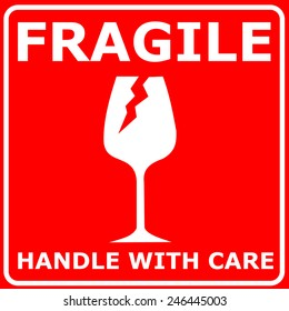 Red sign FRAGILE vector