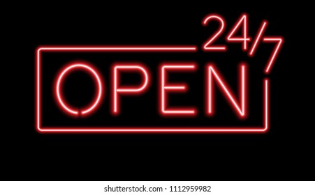 Red sign Open 24/7 hours neon lights for night club or bar.