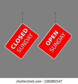 """red sign """"open sunday"""" and """"closed sunday"""" tag on white background."""