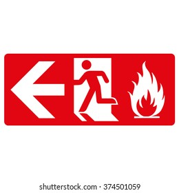 red signpost, fire output from the left. Ideal for visual communication and institutional materials