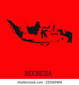 Red Silhouette of the Country Indonesia