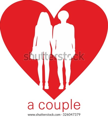 Red Silhouette Couple Mods Heart Stock Vector (Royalty Free
