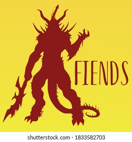 red silhouette of a demon on a yellow background