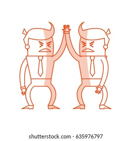 red silhouette image cartoon business men in discussion