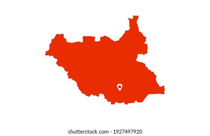 Red silhouette of map of Juba city in south sudan on white background