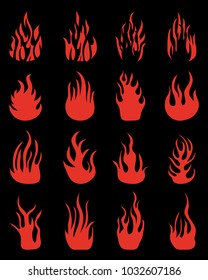 Red silhouettes of fire flames, set icons