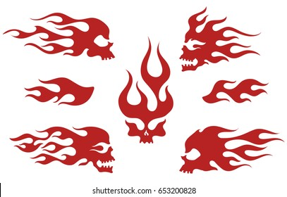 Red silhouettes of flaming skulls, emblem set, old school fire logos, isolated vector illustration
