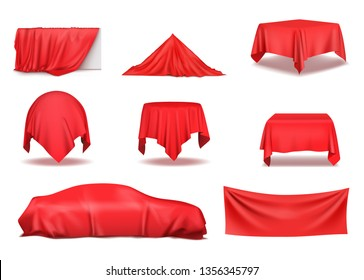 Red silk cloth covered objects realistic set. Vector illustration
