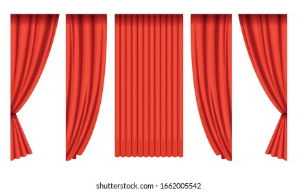 Red Silk Curtains Collection, Theater Stage Design Element Vector Illustration on White Background