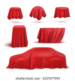 Red silk fabric curtain cover set isolated on white background - secret hidden sphere, cube, table, car shaped object collection inside draped cloth - product exhibition vector illustration