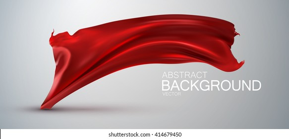 Red silk fabric. Vector illustration with red satin or silk fabric. Vector glossy textile flag