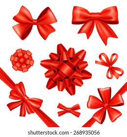 Red silk gift bows and celebration ribbons set isolated vector illustration