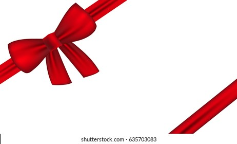 red silk ribbon. red bow.