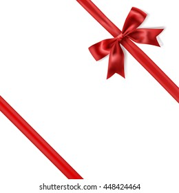 red silky bow ribbon on white background. vector