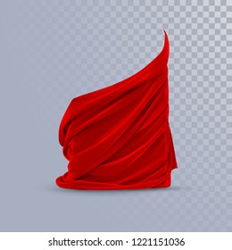 Red silky fabric. Decoration element for design. Vector realistic illustration. Realistic textile with folds and drapes isolated on transparent background