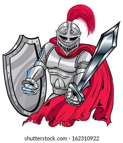 Red, silver Medieval Knight Shield and sword.
