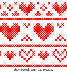 Red simple cute cross stitch hearts and stripes on white canvas seamless pattern, vector