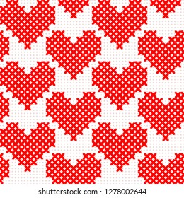 Red simple cute cross stitch hearts on white canvas seamless pattern, vector