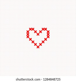Red simple cute cross stitch heart on white canvas card template, vector