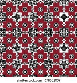 Red Sindhi Ajrak Pattern, Vector Illustration