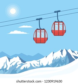 Red ski cabin lift for mountain skiers and snowboarders moves in the air on a cableway on the background of winter snow capped mountains and the shining sun. Vector flat illustration.