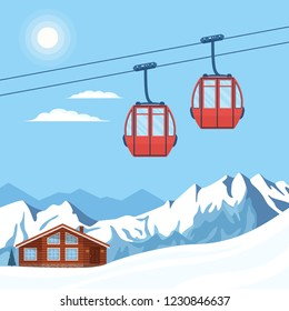 Red ski cabin lift for skiers and snowboarders moves in the air on a cableway on the background of winter snow mountains, hills, chalet, resort house and the shining sun. Vector flat illustration.