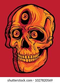 red skull with three eyes illustration