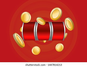 Red Slot Machine Slots Reel With Coins Jackpot Spin Gambling Vector Illustration