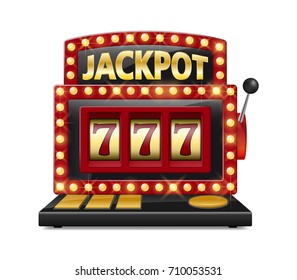 Red slot machine wins the jackpot Isolated on white background. Casino big win slot machine vector illustration