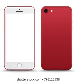 Red Smartphone Mockup with Blank Screen Isolated. Realistic Front and Back View For Print, Web, Application. High Detailed Device Mock Up Separate Groups and Layers. Easily Editable Vector.