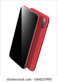Red Smartphone Vector Mockup. Can use for Printing, Website, Presentation Element. for App Demo on Phone. New Realistic Mobile Phone Isolated on White.