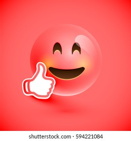 Red smiley emoticon with thumbs up, vector illustration