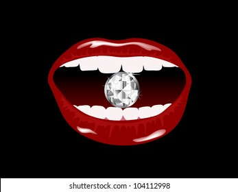 Red smiling lips with the diamond