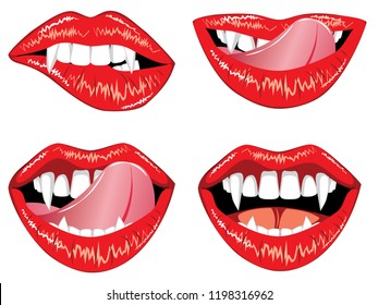 Red smiling vampire lips with fangs on white background.