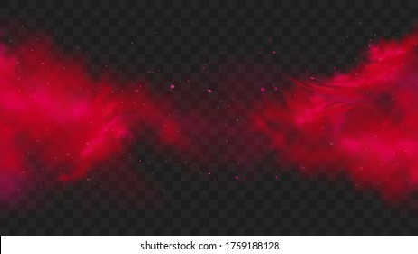 Red smoke or fog color isolated on transparent dark background. Abstract red powder explosion with particles. Colorful dust cloud explode, paint holi, mist smog effect. Realistic vector illustration.