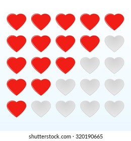 Red smooth rating hearts web buttons. Vector illustration