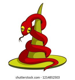 Red snake on hat icon. Cartoon of red snake on hat vector icon for web design